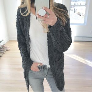 Sweaters - Oversized charcoal cardigan